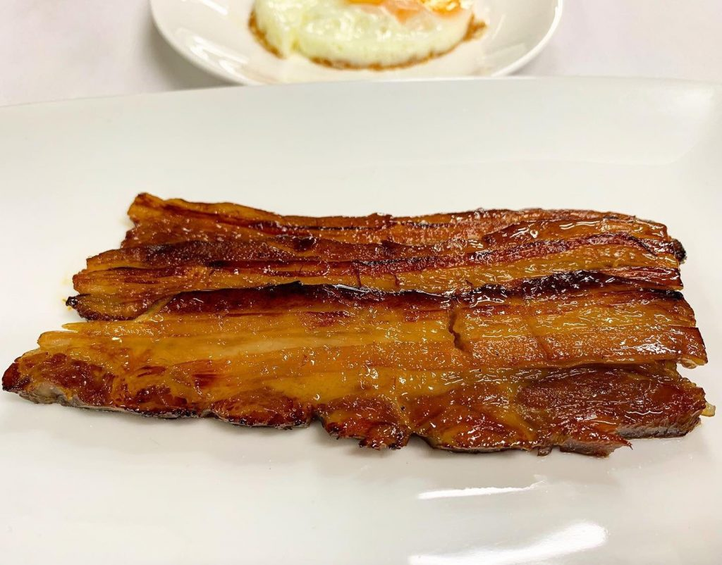 Side of Thick Cut Homemade Honey-Cured Bacon